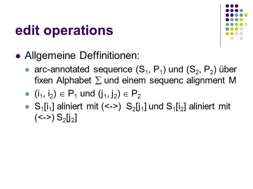 edit operations Allgemeine Deffinitionen: arc-annotated sequence (S 1, P 1 ) und (S 2, P 2 ) über fixen Alphabet  und einem sequenc alignment M (i 1, i 2 )  P 1 und (j 1, j 2 )  P 2 S 1 [i 1 ] aliniert mit ( ) S 2 [j 1 ] und S 1 [i 2 ] aliniert mit ( ) S 2 [j 2 ]