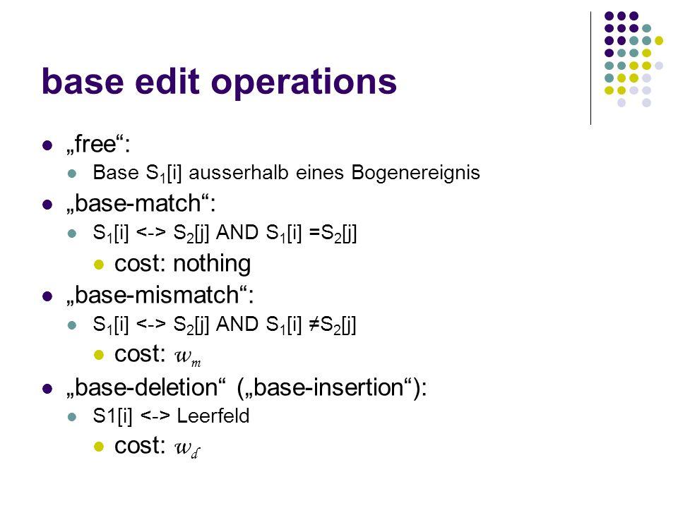 """arc edit operations """"arc-match : S 1 [i 1 ] = S 2 [j 1 ] AND S 1 [i 2 ] = S 2 [j 2 ] cost: nothing """"arc-mismatch : S 1 [i 1 ] ≠ S 2 [j 1 ] AND S 1 [i 2 ] ≠ S 2 [j 2 ] cost: w am S 1 [i 1 ] ≠ S 2 [j 1 ] OR S 1 [i 2 ] ≠ S 2 [j 2 ] cost: w am ½ """"arc-breaking : S 1 [i 1 ] S 2 [j 1 ] AND S 1 [i 2 ] S 2 [j 2 ] (i 1, i 2 )  P 1 (j 1, j 2 )  P 2 bricht (i 1, i 2 ) auf und hinterlässt S 1 [i 1 ] und S 1 [i 2 ] free cost: w b"""