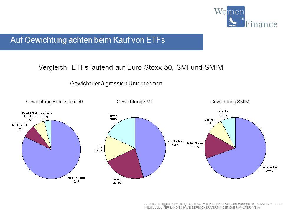 Aquila Vermögensverwaltung Zürich AG, Edit Höller Zen Ruffinen, Bahnhofstrasse 28a, 8001 Zürich Mitglied des VERBAND SCHWEIZERISCHER VERMÖGENSVERWALTER (VSV) AnbieterName des ETFs Barclays Global InvestoriShares / iBoxx Credit SuisseXMTCH INDEXCHANGEEX Lyxor / Société GénéraleMaster Unit UBSUBS-ETF ETF-Anbieter an der Schweizer Börse SWX