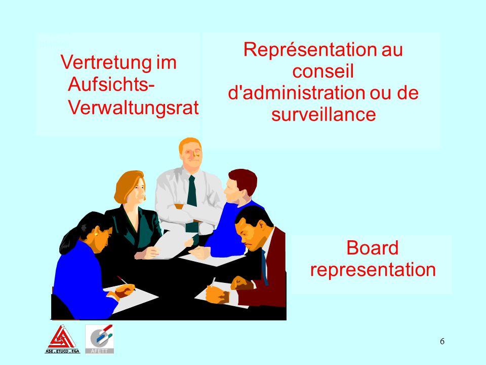 6 Board representation Représentation au conseil d'administration ou de surveillance Vertretung im Aufsichts- Verwaltungsrat Board Represe ntation 1