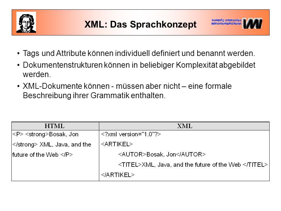 XML: Das Sprachkonzept XML besteht also aus Tags Inhalt...die ineinander geschachtelt sind Inhalt...und zusammen mit einer XML-Deklaration bereits ein vollständiges XML-Dokument ergeben.