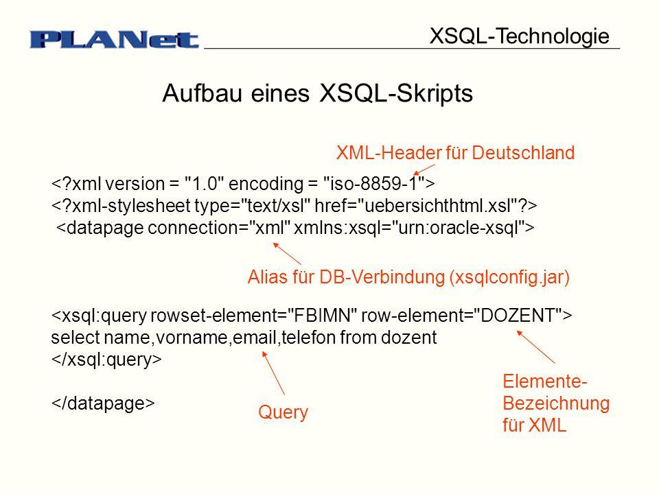 XSQL-Technologie Aufbau eines XSQL-Skripts select name,vorname,email,telefon from dozent XML-Header für Deutschland Elemente- Bezeichnung für XML Query Alias für DB-Verbindung (xsqlconfig.jar)