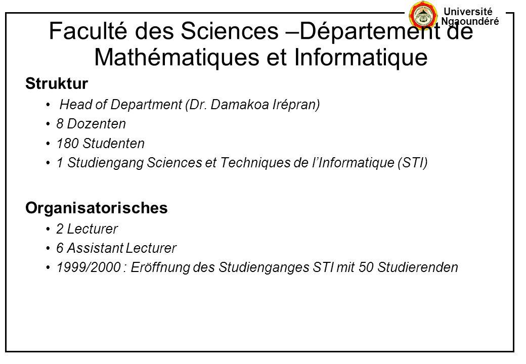 Université Ngaoundéré Faculté des Sciences –Département de Mathématiques et Informatique Struktur Head of Department (Dr. Damakoa Irépran) 8 Dozenten
