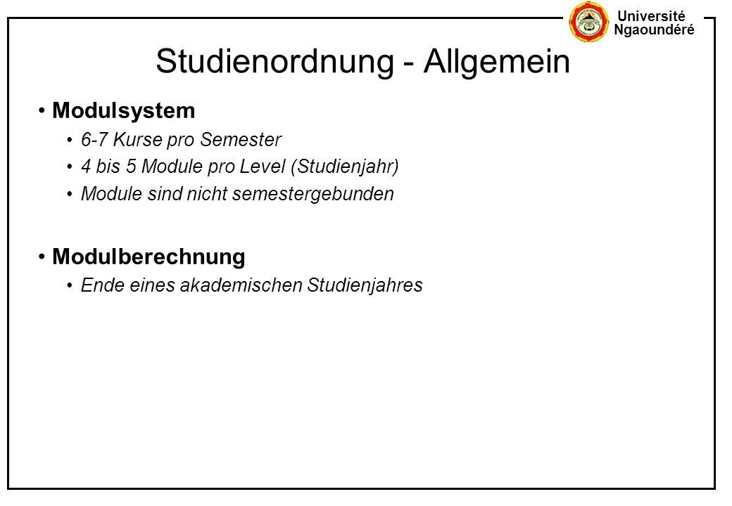 Université Ngaoundéré Studienordnung - Allgemein Modulsystem 6-7 Kurse pro Semester 4 bis 5 Module pro Level (Studienjahr) Module sind nicht semesterg