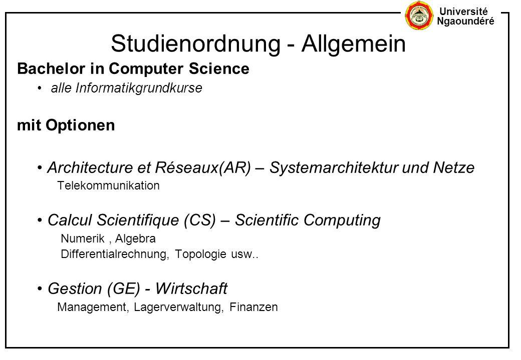 Université Ngaoundéré Studienordnung - Allgemein Bachelor in Computer Science alle Informatikgrundkurse mit Optionen Architecture et Réseaux(AR) – Sys