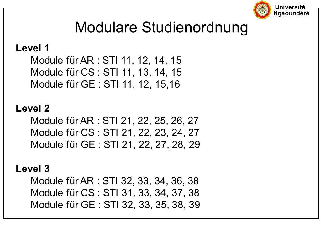 Université Ngaoundéré Level 1 Module für AR : STI 11, 12, 14, 15 Module für CS : STI 11, 13, 14, 15 Module für GE : STI 11, 12, 15,16 Level 2 Module f