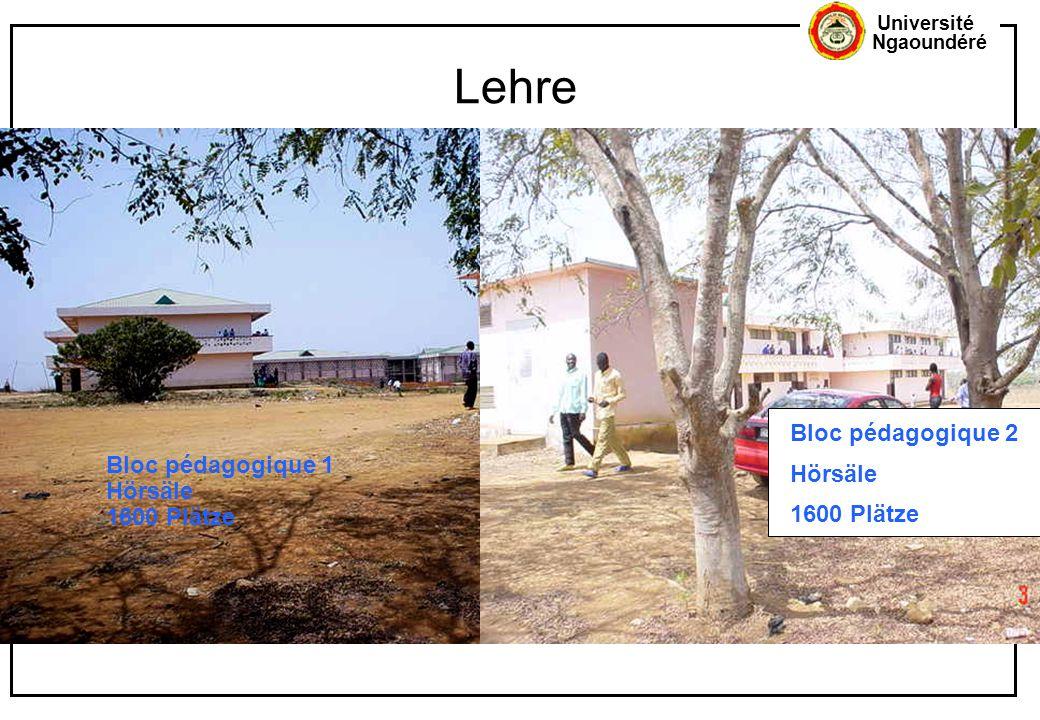 Université Ngaoundéré Lehre Bloc pédagogique 1 Hörsäle 1600 Plätze Bloc pédagogique 2 Hörsäle 1600 Plätze