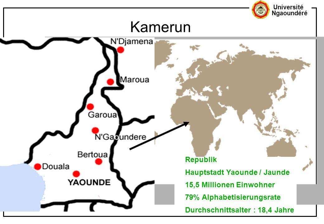 Université Ngaoundéré Kamerun... Republik Hauptstadt Yaounde / Jaunde 15,5 Millionen Einwohner 79% Alphabetisierungsrate Durchschnittsalter : 18,4 Jah