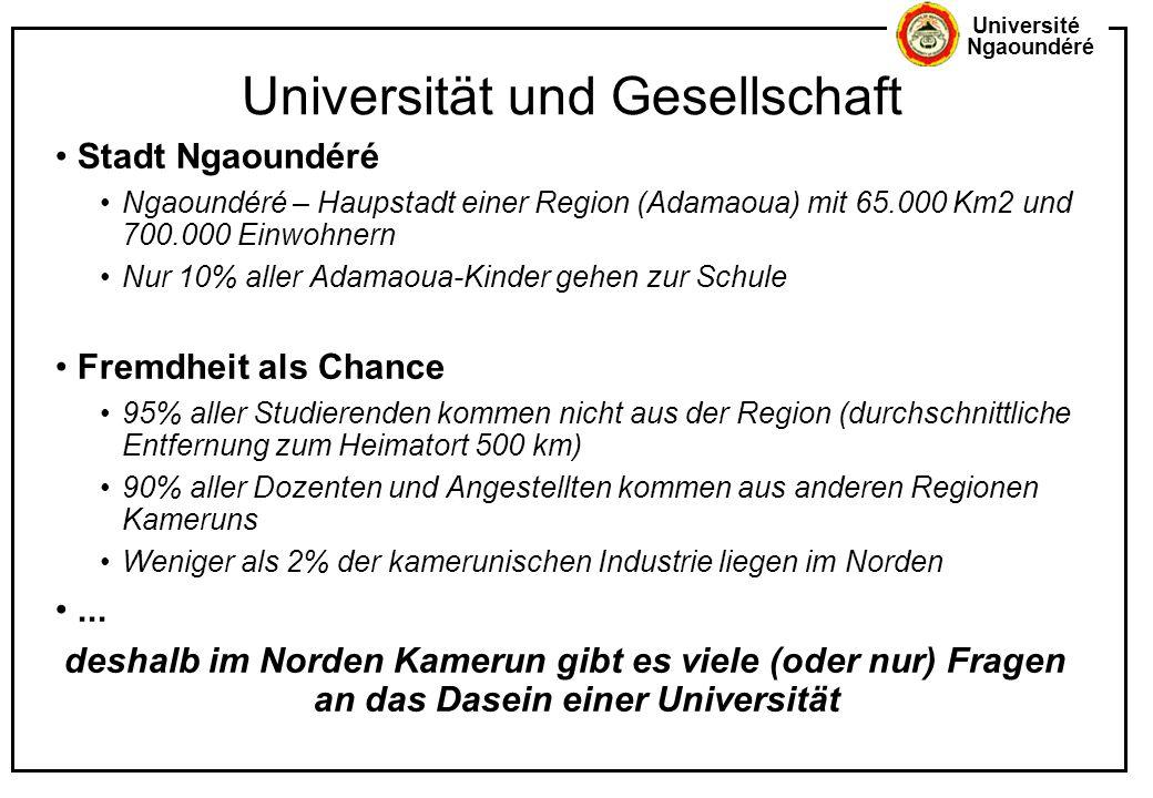Université Ngaoundéré Universität und Gesellschaft Stadt Ngaoundéré Ngaoundéré – Haupstadt einer Region (Adamaoua) mit 65.000 Km2 und 700.000 Einwohne
