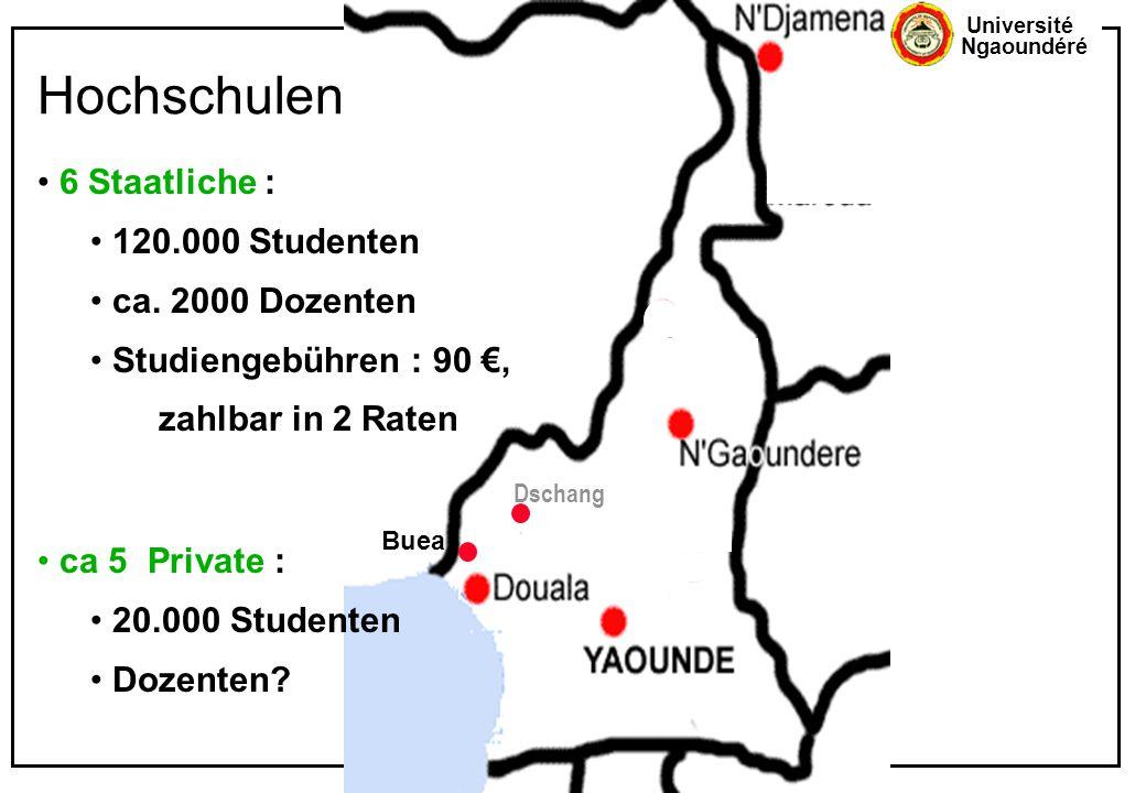 Université Ngaoundéré Hochschulen Buea Dschang 6 Staatliche : 120.000 Studenten ca. 2000 Dozenten Studiengebühren : 90 €, zahlbar in 2 Raten ca 5 Priv