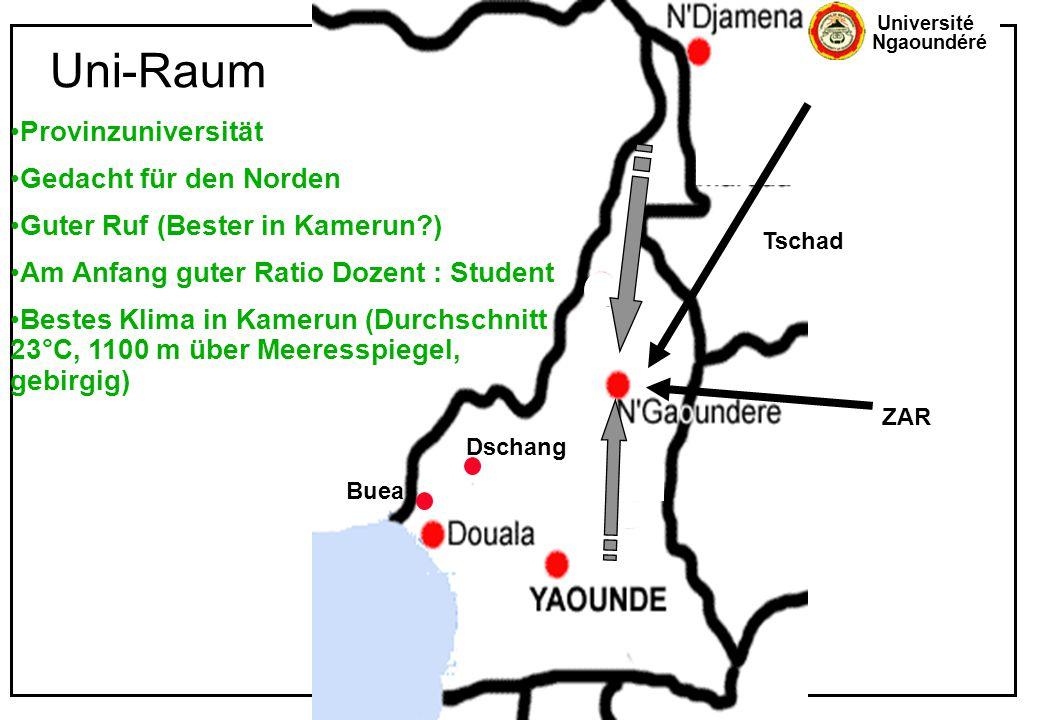 Université Ngaoundéré Uni-Raum Buea Dschang ZAR Tschad Provinzuniversität Gedacht für den Norden Guter Ruf (Bester in Kamerun?) Am Anfang guter Ratio