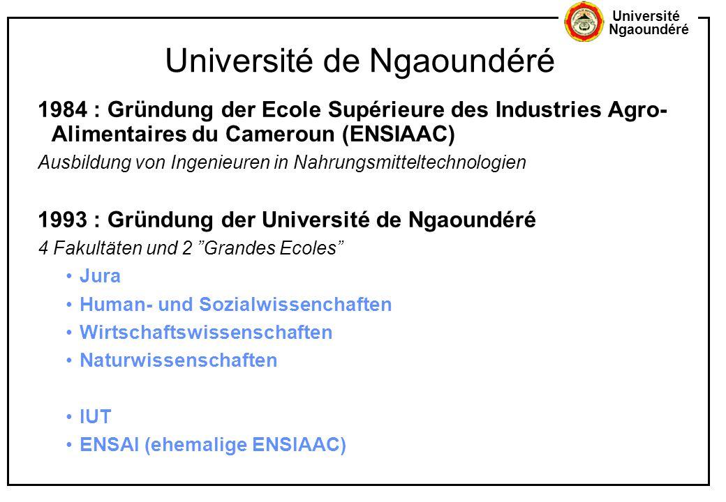 Université Ngaoundéré Université de Ngaoundéré 1984 : Gründung der Ecole Supérieure des Industries Agro- Alimentaires du Cameroun (ENSIAAC) Ausbildung