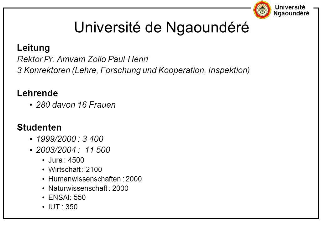 Université Ngaoundéré Université de Ngaoundéré Leitung Rektor Pr. Amvam Zollo Paul-Henri 3 Konrektoren (Lehre, Forschung und Kooperation, Inspektion)