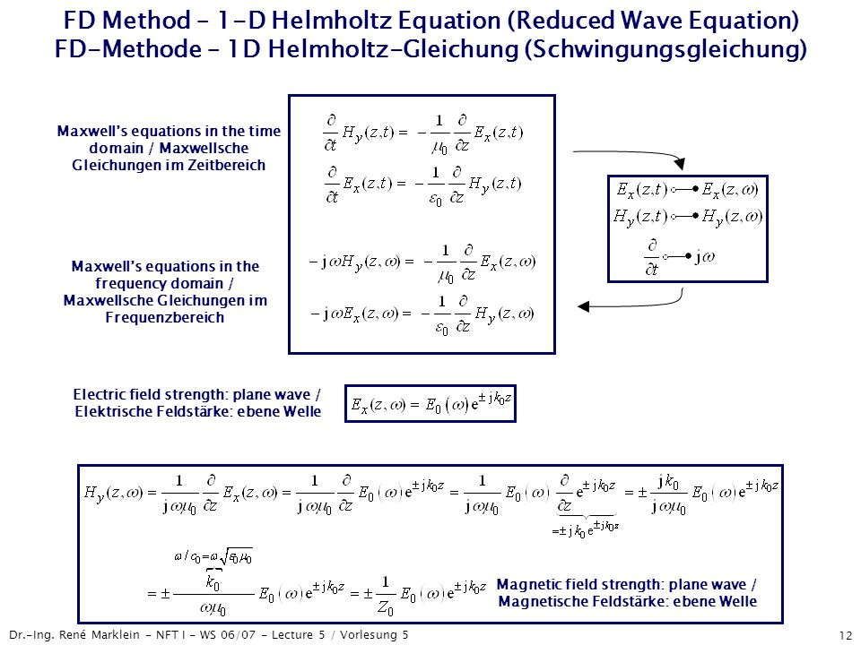 Dr.-Ing. René Marklein - NFT I - WS 06/07 - Lecture 5 / Vorlesung 5 12 FD Method – 1-D Helmholtz Equation (Reduced Wave Equation) FD-Methode – 1D Helm
