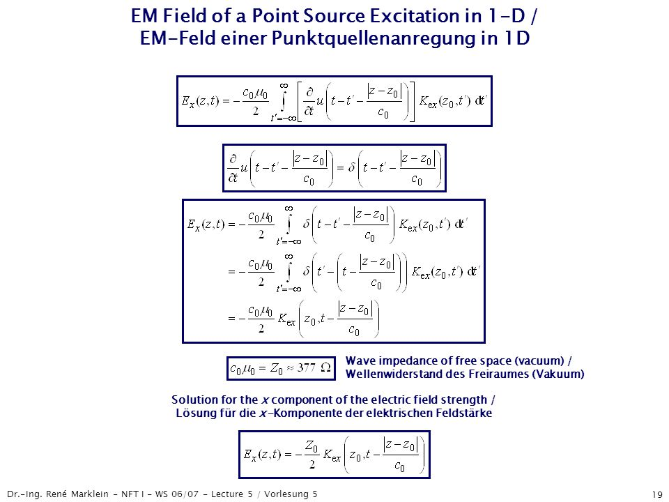 Dr.-Ing. René Marklein - NFT I - WS 06/07 - Lecture 5 / Vorlesung 5 19 EM Field of a Point Source Excitation in 1-D / EM-Feld einer Punktquellenanregu