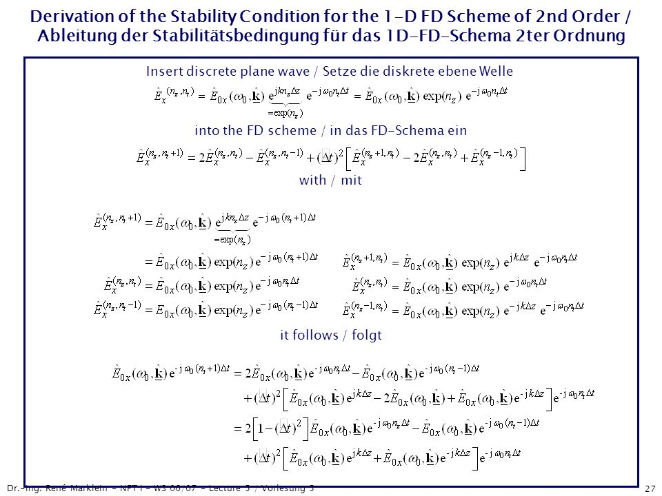Dr.-Ing. René Marklein - NFT I - WS 06/07 - Lecture 5 / Vorlesung 5 27 Derivation of the Stability Condition for the 1-D FD Scheme of 2nd Order / Able