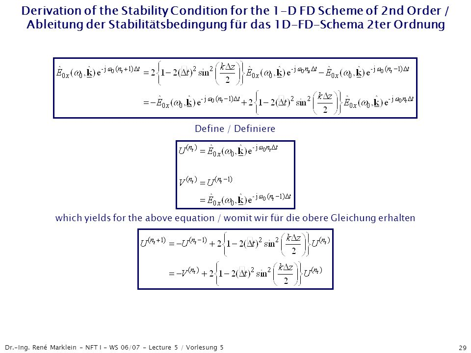 Dr.-Ing. René Marklein - NFT I - WS 06/07 - Lecture 5 / Vorlesung 5 29 Derivation of the Stability Condition for the 1-D FD Scheme of 2nd Order / Able