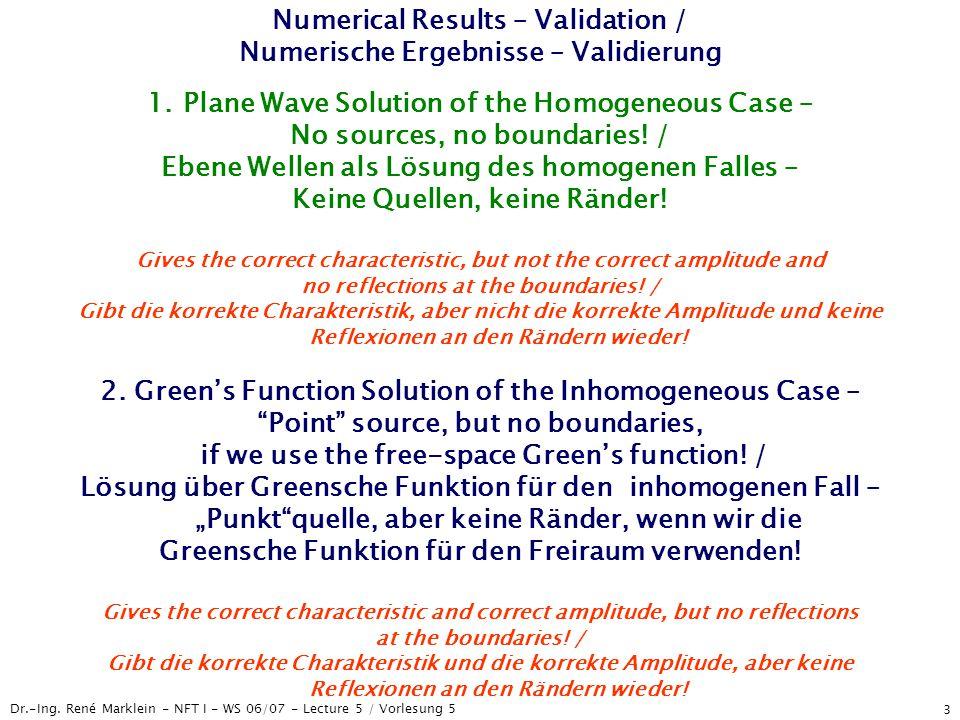 Dr.-Ing. René Marklein - NFT I - WS 06/07 - Lecture 5 / Vorlesung 5 3 Numerical Results – Validation / Numerische Ergebnisse – Validierung 1.Plane Wav