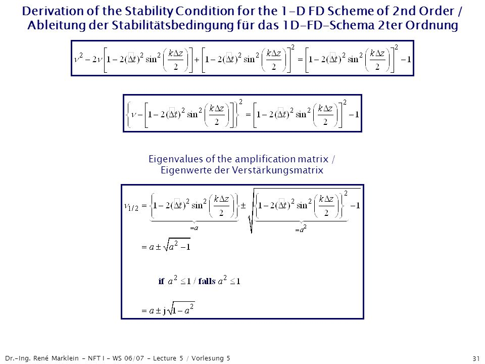 Dr.-Ing. René Marklein - NFT I - WS 06/07 - Lecture 5 / Vorlesung 5 31 Derivation of the Stability Condition for the 1-D FD Scheme of 2nd Order / Able