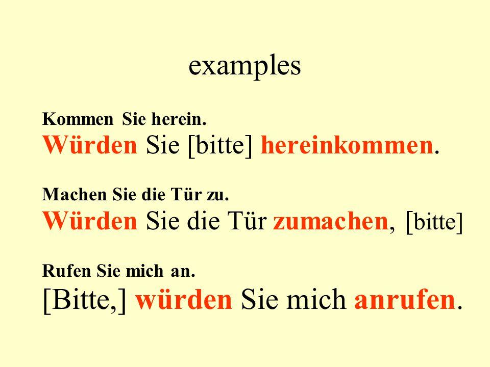 examples Kommen Sie herein. Würden Sie [bitte] hereinkommen.