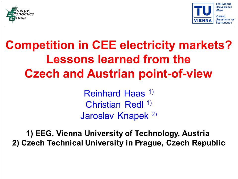Titelmasterformat durch Klicken bearbeiten Textmasterformate durch Klicken bearbeiten Zweite Ebene Dritte Ebene Vierte Ebene Fünfte Ebene 1 Competition in CEE electricity markets.