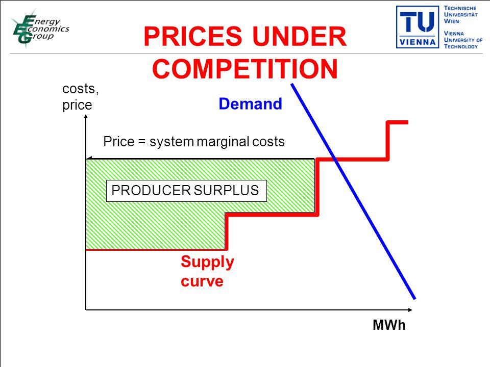 Titelmasterformat durch Klicken bearbeiten Textmasterformate durch Klicken bearbeiten Zweite Ebene Dritte Ebene Vierte Ebene Fünfte Ebene 18 PRICES UNDER COMPETITION costs, price MWh Supply curve Demand Price = system marginal costs PRODUCER SURPLUS