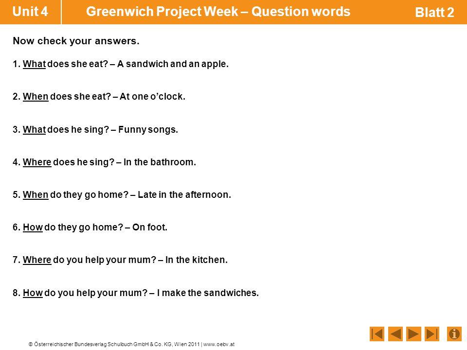 © Österreichischer Bundesverlag Schulbuch GmbH & Co. KG, Wien 2011 | www.oebv.at Blatt 2 Unit 4 Greenwich Project Week – Question words 1. What does s