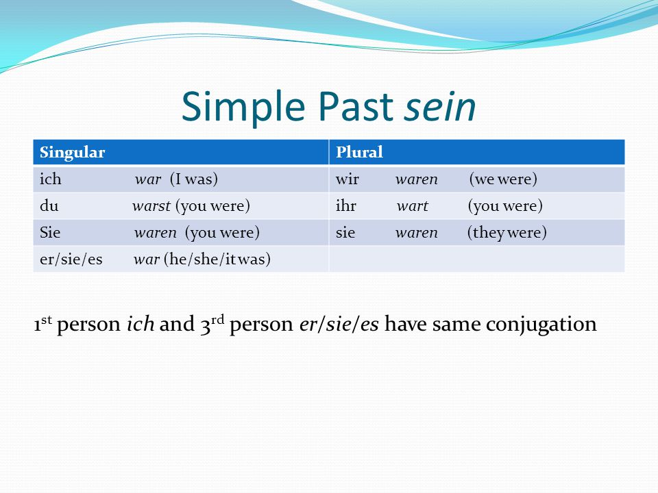 Simple Past sein SingularPlural ich war (I was)wir waren (we were) du warst (you were)ihr wart (you were) Sie waren (you were)sie waren (they were) er