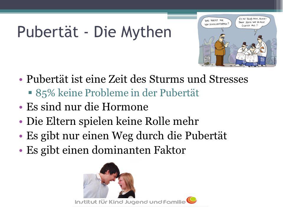 Pubertät - Die Mythen Pubertät ist eine Zeit des Sturms und Stresses  85% keine Probleme in der Pubertät Es sind nur die Hormone Die Eltern spielen k