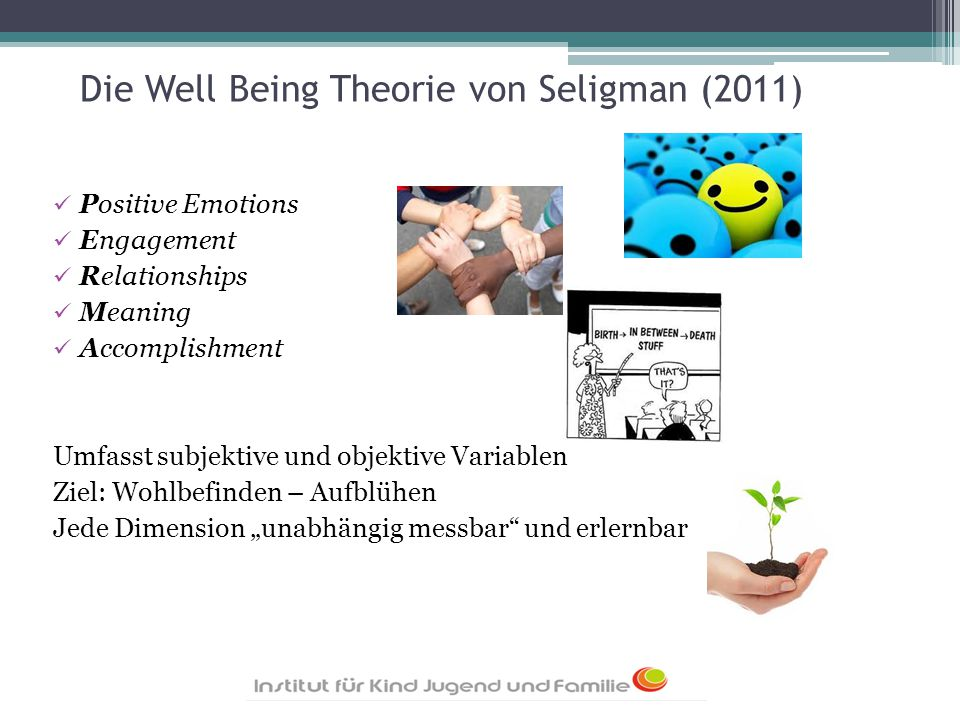 Die Well Being Theorie von Seligman (2011) Positive Emotions Engagement Relationships Meaning Accomplishment Umfasst subjektive und objektive Variable