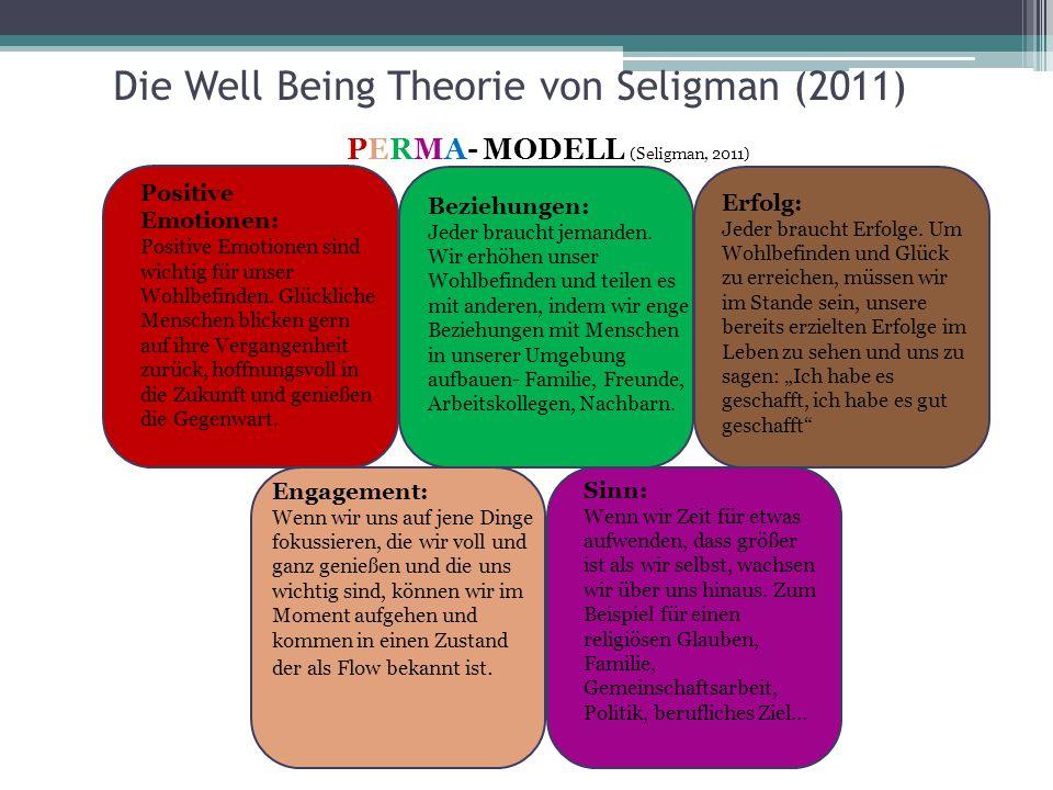 Die Well Being Theorie von Seligman (2011) Positive Emotionen: Positive Emotionen sind wichtig für unser Wohlbefinden. Glückliche Menschen blicken ger