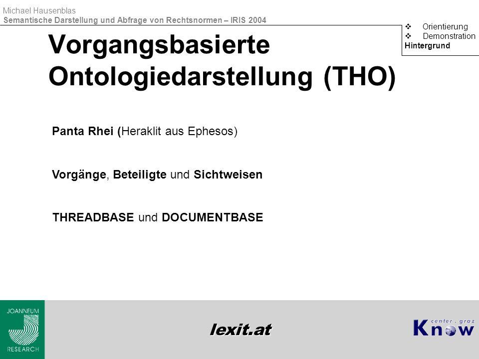 lexit.at Michael Hausenblas Semantische Darstellung und Abfrage von Rechtsnormen – IRIS 2004 Vorgangsbasierte Ontologiedarstellung (THO)  Orientierun