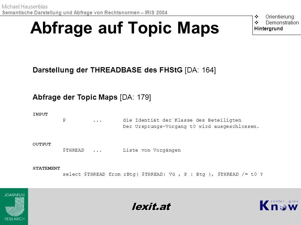 lexit.at Michael Hausenblas Semantische Darstellung und Abfrage von Rechtsnormen – IRIS 2004 Abfrage auf Topic Maps  Orientierung  Demonstration Hin
