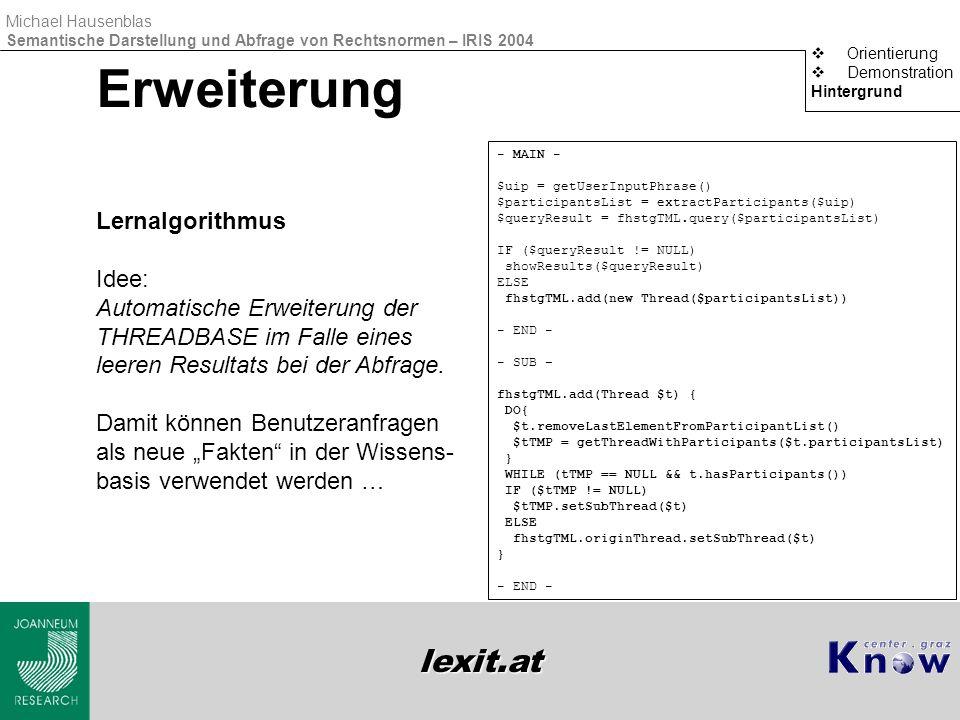 lexit.at Michael Hausenblas Semantische Darstellung und Abfrage von Rechtsnormen – IRIS 2004 Erweiterung  Orientierung  Demonstration Hintergrund Le