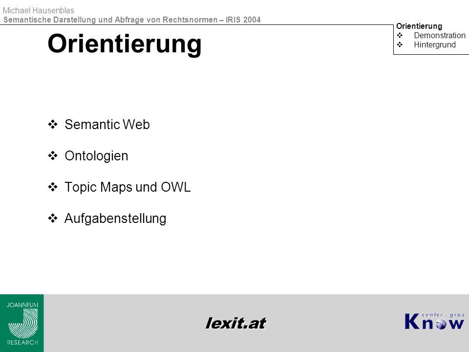 lexit.at Michael Hausenblas Semantische Darstellung und Abfrage von Rechtsnormen – IRIS 2004 Semantic Web Orientierung  Demonstration  Hintergrund Architektur des Semantic Web http://www.w3.org/2000/Talks/1206-xml2k-tbl/