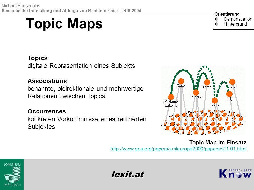 lexit.at Michael Hausenblas Semantische Darstellung und Abfrage von Rechtsnormen – IRIS 2004 Topic Maps Orientierung  Demonstration  Hintergrund Top