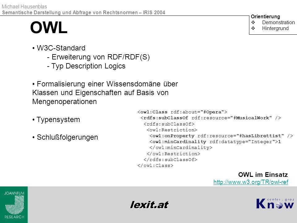 lexit.at Michael Hausenblas Semantische Darstellung und Abfrage von Rechtsnormen – IRIS 2004 OWL Orientierung  Demonstration  Hintergrund W3C-Standa