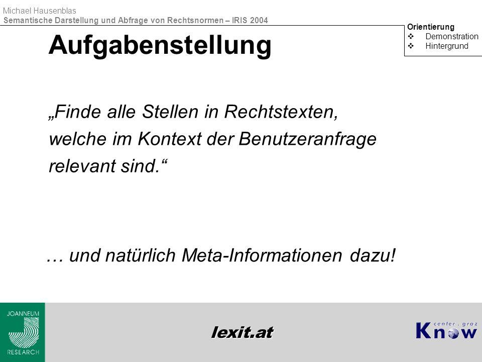 lexit.at Michael Hausenblas Semantische Darstellung und Abfrage von Rechtsnormen – IRIS 2004 Demonstration  http://www.lexit.athttp://www.lexit.at  Use Cases  Rechts-Laie  Rechts-Experte  Orientierung Demonstration  Hintergrund