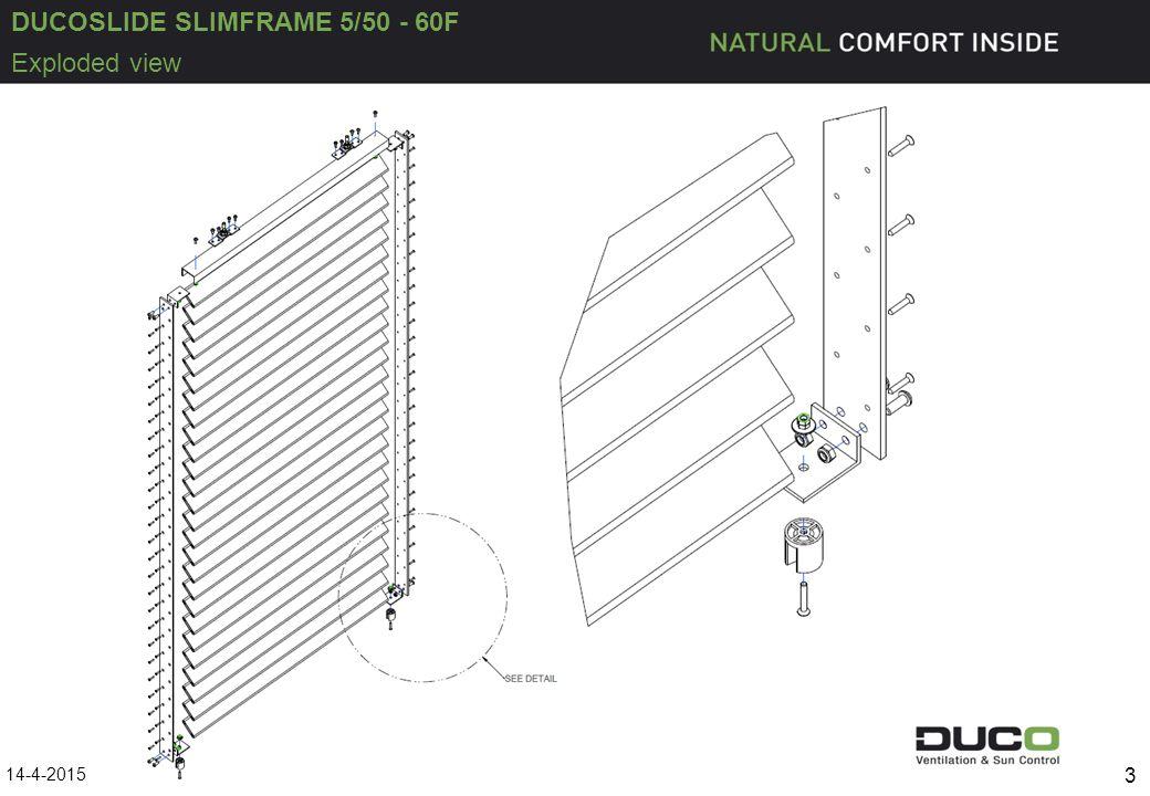 DUCOSLIDE SLIMFRAME 5/50 - 60F U Profil oben 50/30/3 Nummer: P11733-10 Schnittmaß: siehe Seite 6 Anzahl Stück : 1 Kupplungsprofil 50x25x3 Nummer :G0012502 Schnittmaß: 40mm Anzahl Stück: 4 Profil 50/5 gestanzt + Links versenkt.