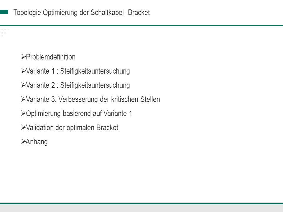 Topologie Optimierung der Schaltkabel- Bracket Lastfall 2 Optimale Bracket Kritische Stelle Vergleichsspannung von Mises- Maximale Spannung: 78.53 MPa Eine kritische Stelle (8.53 MPa mehr.)