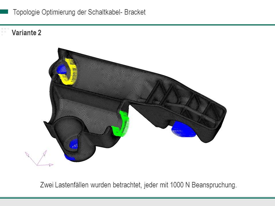 Topologie Optimierung der Schaltkabel- Bracket Variante 2 Zwei Lastenfällen wurden betrachtet, jeder mit 1000 N Beanspruchung.