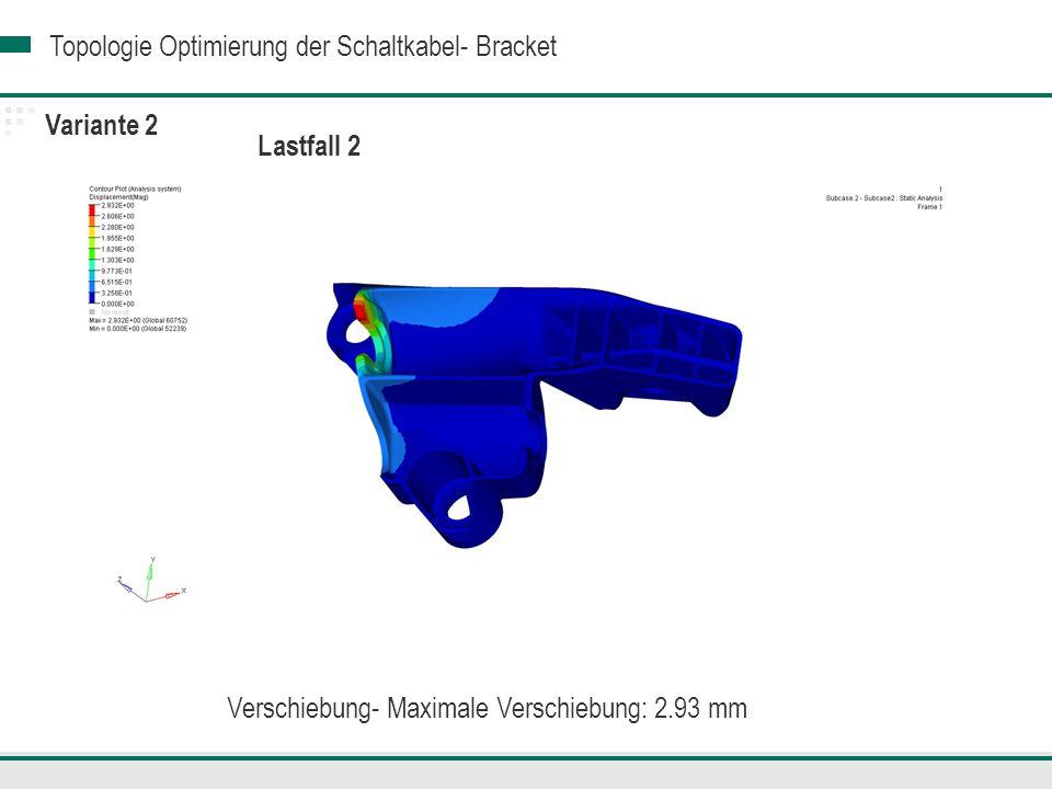 Topologie Optimierung der Schaltkabel- Bracket Variante 2 Lastfall 2 Verschiebung- Maximale Verschiebung: 2.93 mm
