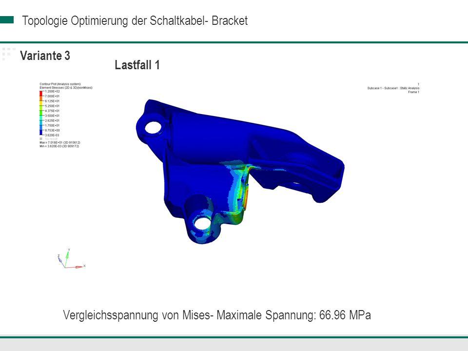 Topologie Optimierung der Schaltkabel- Bracket Variante 3 Lastfall 1 Vergleichsspannung von Mises- Maximale Spannung: 66.96 MPa