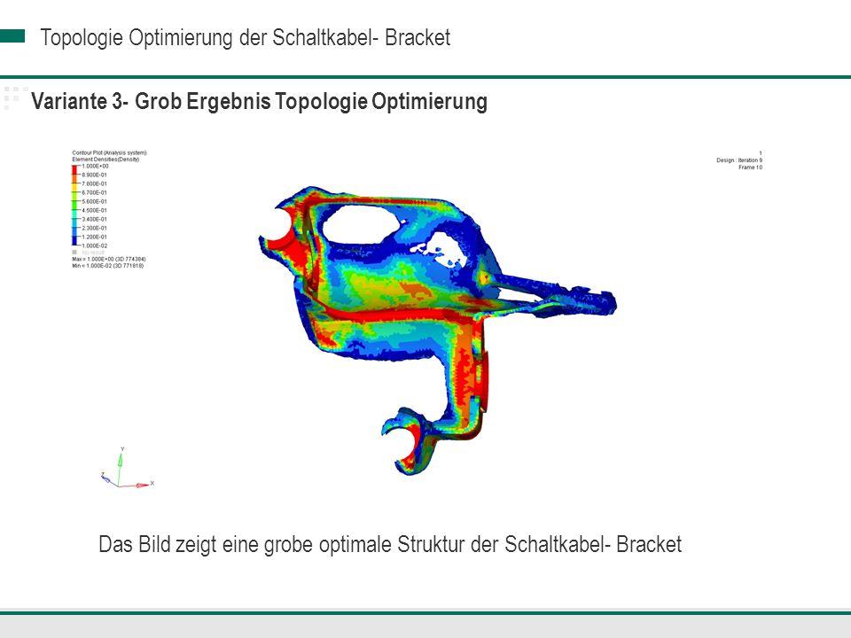 Topologie Optimierung der Schaltkabel- Bracket Variante 3- Grob Ergebnis Topologie Optimierung Das Bild zeigt eine grobe optimale Struktur der Schaltkabel- Bracket