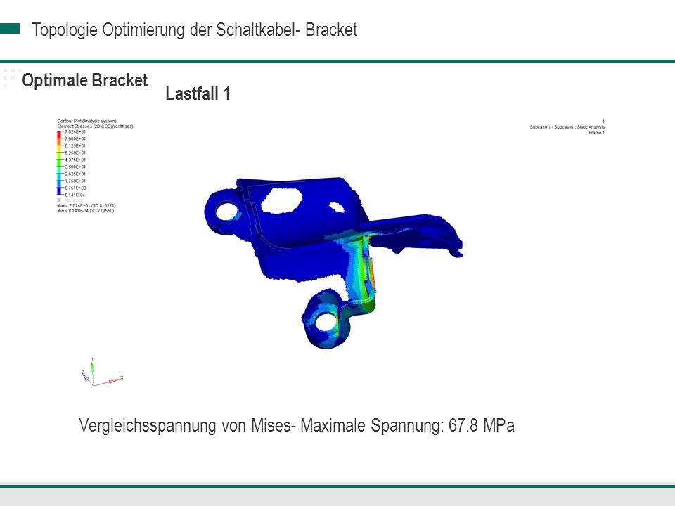 Topologie Optimierung der Schaltkabel- Bracket Optimale Bracket Vergleichsspannung von Mises- Maximale Spannung: 67.8 MPa Lastfall 1