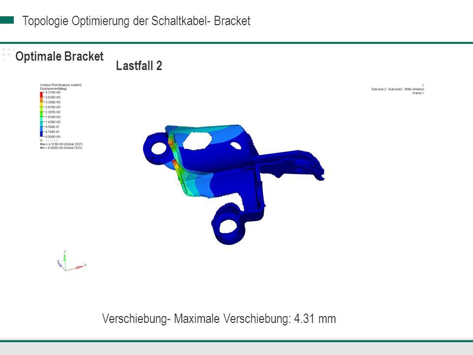 Topologie Optimierung der Schaltkabel- Bracket Optimale Bracket Verschiebung- Maximale Verschiebung: 4.31 mm Lastfall 2