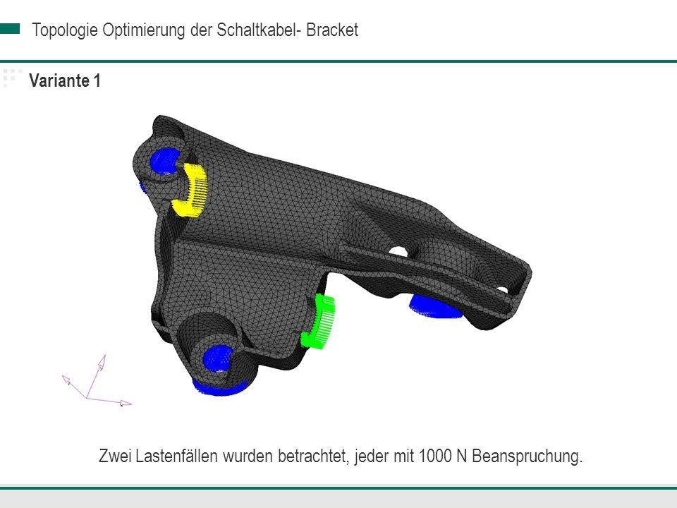 Topologie Optimierung der Schaltkabel- Bracket Variante 2 Lastfall 2 Vergleichsspannung von Mises- Maximale Spannung: 84.05 MPa Eine kritische Stelle