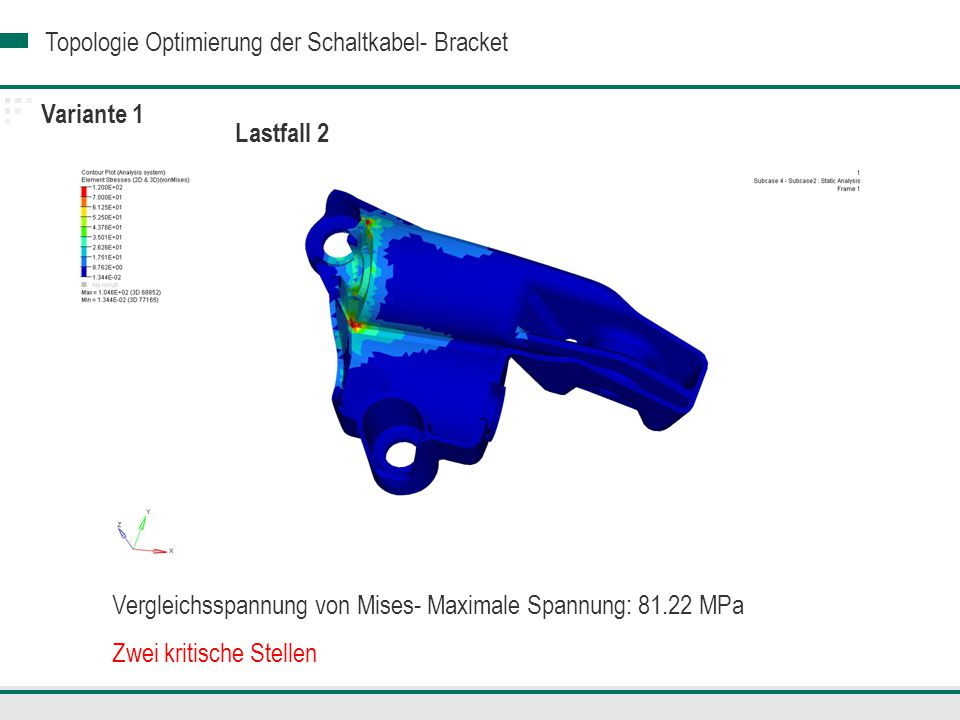 Topologie Optimierung der Schaltkabel- Bracket Lastfall 2 Variante 1 Vergleichsspannung von Mises- Maximale Spannung: 81.22 MPa Zwei kritische Stellen