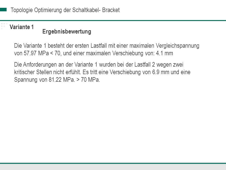 Topologie Optimierung der Schaltkabel- Bracket Variante 2 : Variante 1 mit zusätzlichen Rippen: Ausgangsgewicht: 159 g.