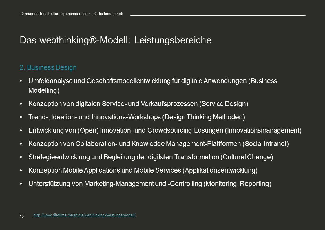 Das webthinking®-Modell: Leistungsbereiche 2. Business Design Umfeldanalyse und Geschäftsmodellentwicklung für digitale Anwendungen (Business Modellin
